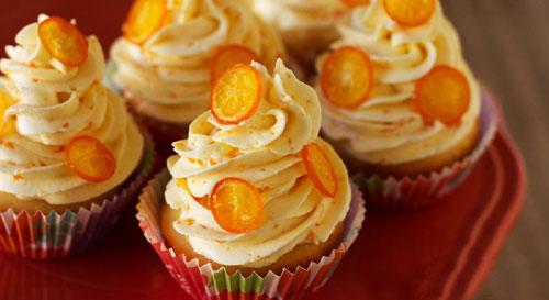cupcake con kumquats confitadas