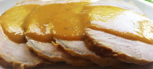 medallones de cerdo en salsa de manzanas