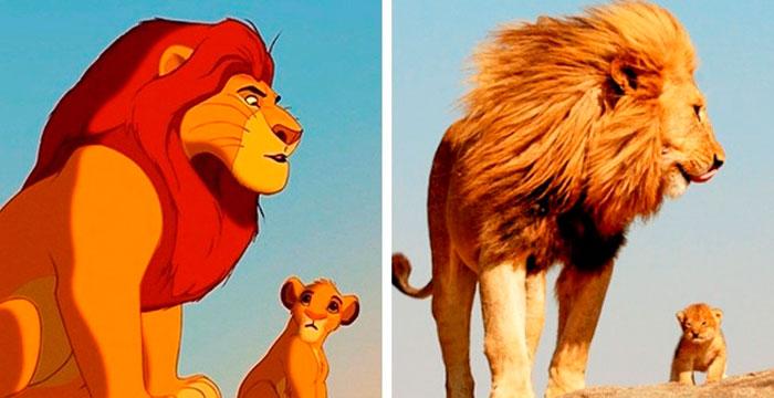 Simba con su papá Mufasa en la vida real