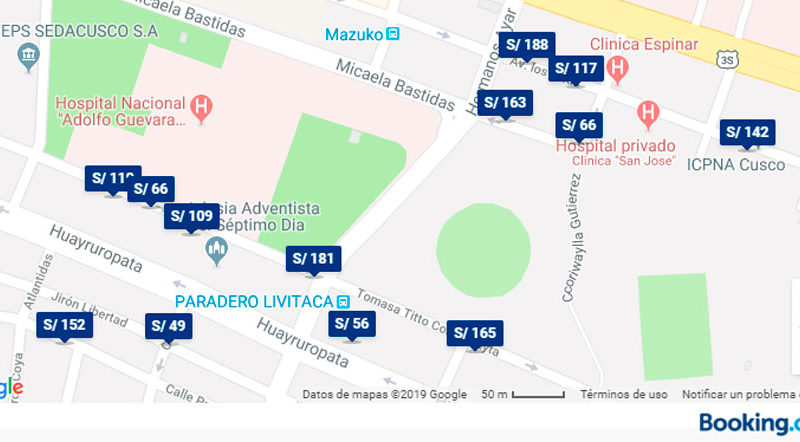 Mapa de hoteles y precios en Cusco