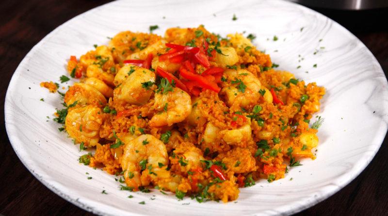 Como hacer arroz con vieiras y camarones