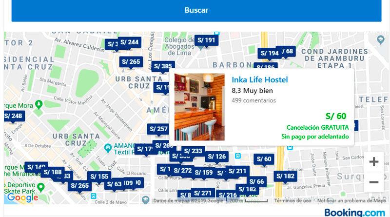 Mapa de hoteles en Lima