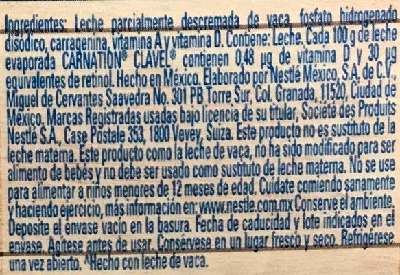 Ingredientes de la leche evaporada Gloria