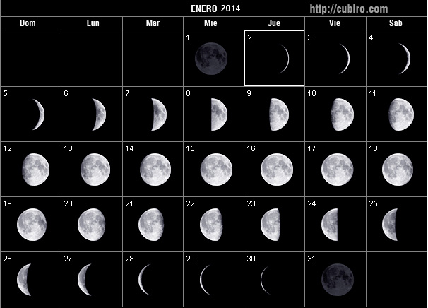 Cuarto menguante en enero 2016 for Calendario de luna creciente 2016