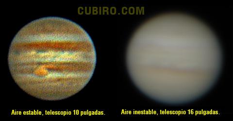 La mala calidad de imagen de Júpiter en nuestro telescopio muchas veces se debe a la mala condicion atmosférica