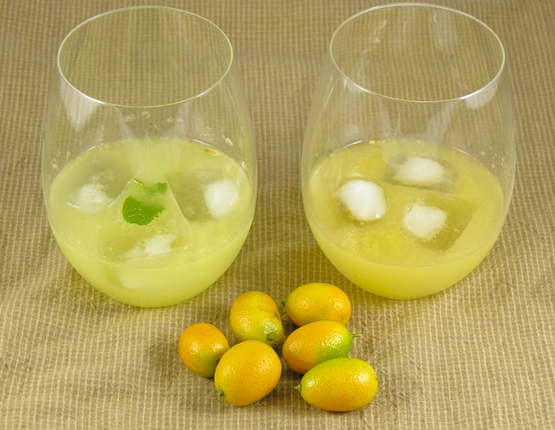 Daiquiri de kumquat (a la izquierda con tequila, a la derecha con ron blanco)